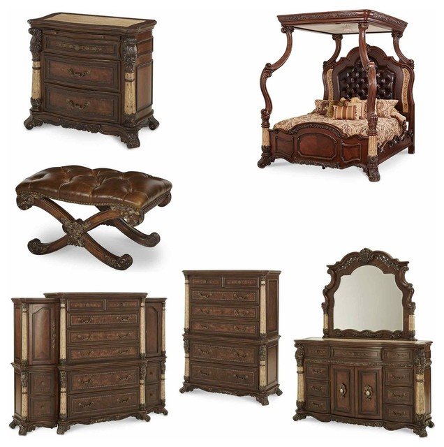victoria palace 7 piece canopy bedroom set traditional