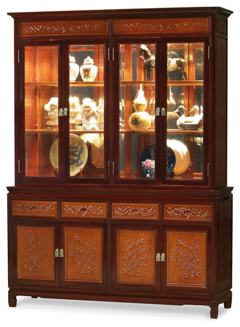 rosewood flower and bird motif china cabinet asian china cabinets and hutches chinese inspired furniture