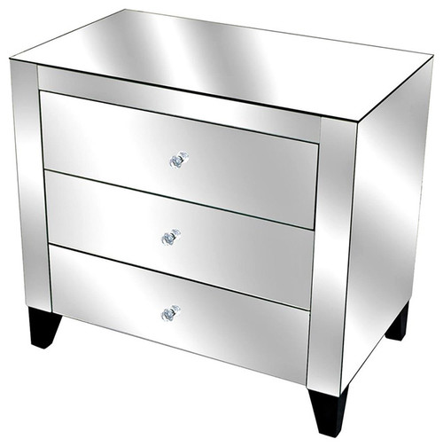 Fletcher Mirrored 3-Drawer Chest With Clear Drawer Pulls Black Legs