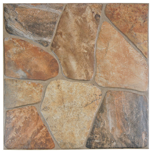 "17.75""x17.75"" Rhone Ceramic Floor/wall Tiles, Set Of 8, Caliza."
