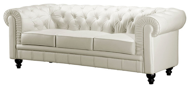 White Button Tufted Leather Sofa With Rolled Arms