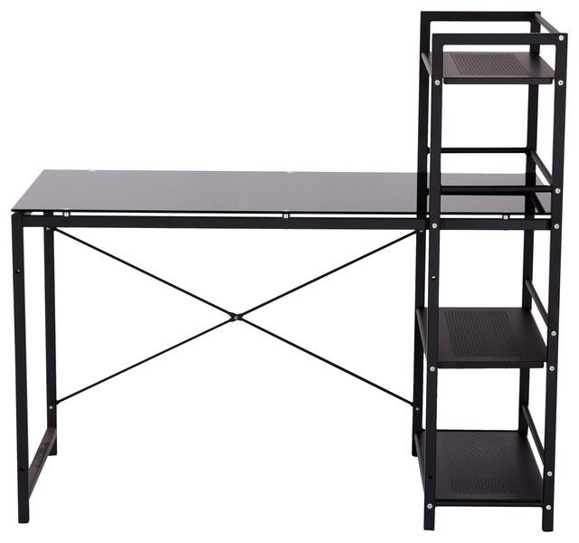 """49"""" Multi Shelf Tower Office Workstation Computer Desk, Black."""