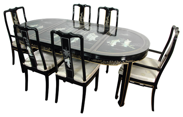 Lacquer Dining Room Set Black Mother Of Pearl Asian Sets By Oriental Furniture