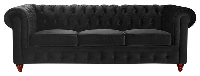 Clic Velvet Scroll Arm Tufted On Chesterfield Style Sofa Black