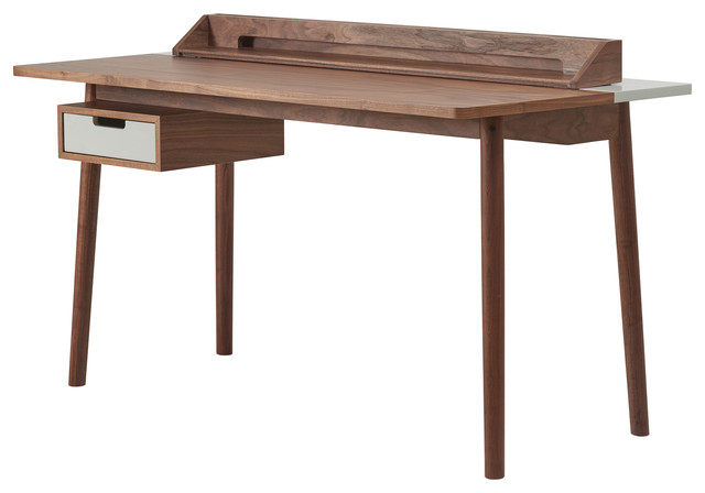 HARTO Honoré Walnut Desk, Light Grey Accents