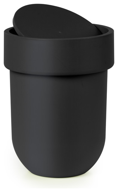 Touch waste can with lid black modern bathroom accessory sets by umbra Lidded trash can for bathroom