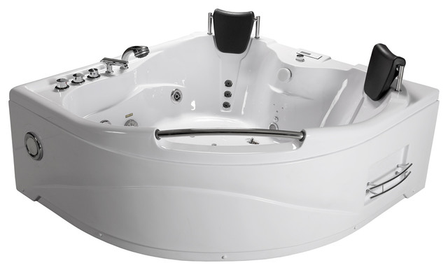 2 Person Bathtub Corner Fitting Whirlpool Jetted Therapy Tub SPA Massage,  White