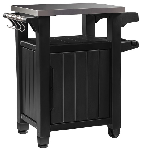 Keter Unity Indoor Outdoor BBQ Prep Station and Serving Cart, Graphite