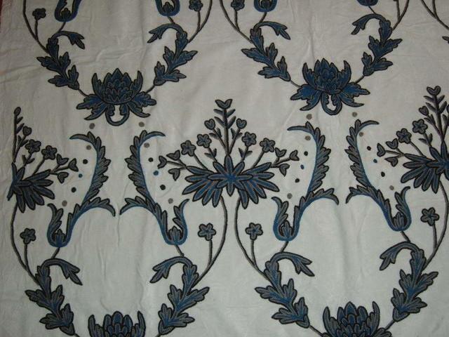 Crewel Fabric Bloom Blue On Creamy White Cotton Velvet Yardage Yard