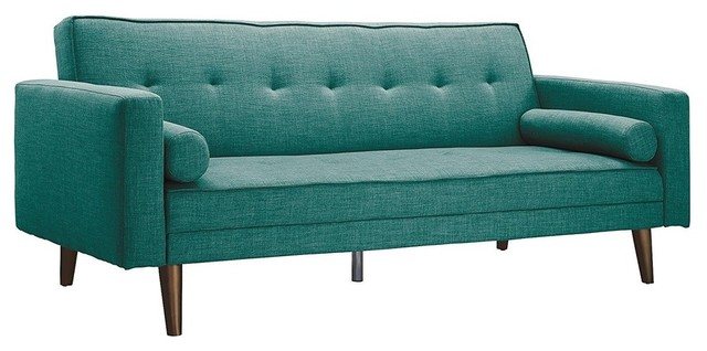 Futon Sofa In Premium Linen Upholstery, Natural Wooden Legs, Gold Finish, Teal.