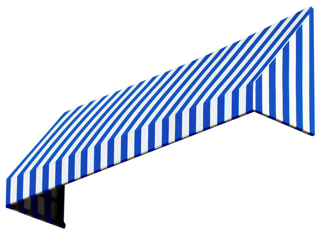 8&x27; New Yorker Window Awning, 44 Hx48 D, Bright Blue And White.