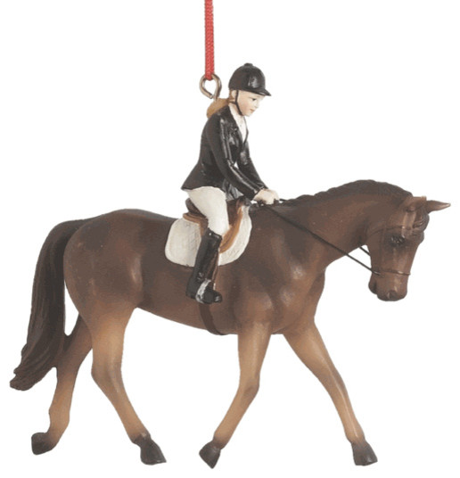 horse riding christmas tree ornament