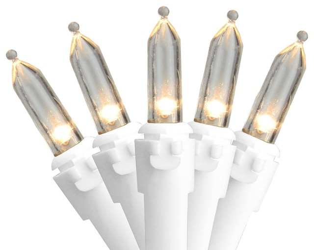 "Set Of 100 Warm White Led Mini Christmas Lights 4"" Spacing - White Wire."