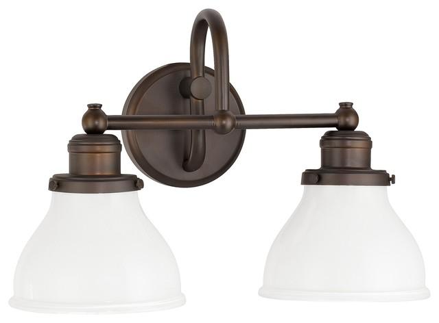 Capital Lighting 4 Light Vanity Fixture Brushed Nickel: Baxter 2-Light Bathroom Vanity Lights, Burnished Bronze
