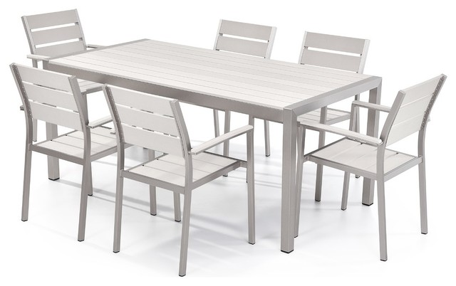 Vittore 7 Piece Outdoor Aluminum And Polywood Dining Set, White  Contemporary Outdoor