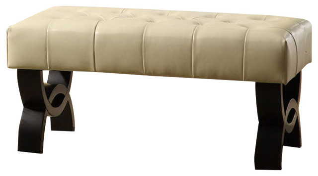 """Central Park 36"""" Tufted Cream Leather Ottoman By Armen"""