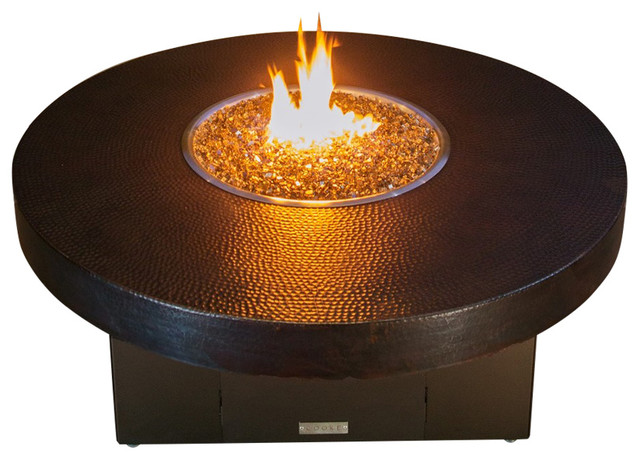 Hammered Copper Round Fire Pit Table 48x18 Propane