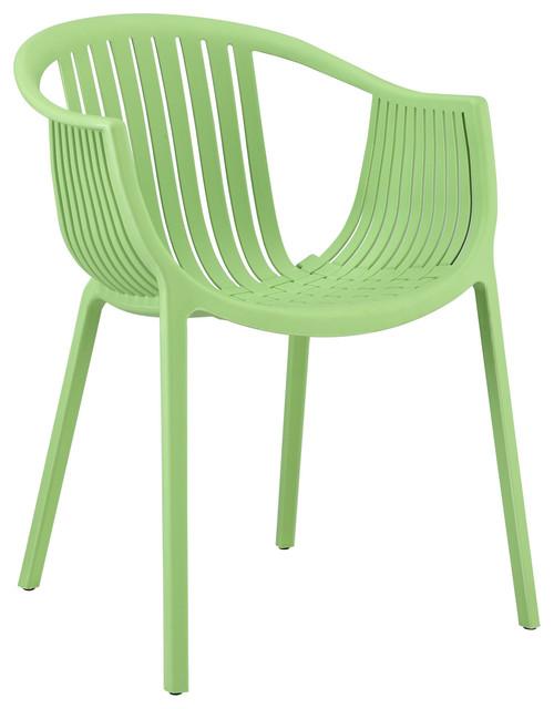 Hammock Plastic Stackable Outdoor Modern Dining Chair Green