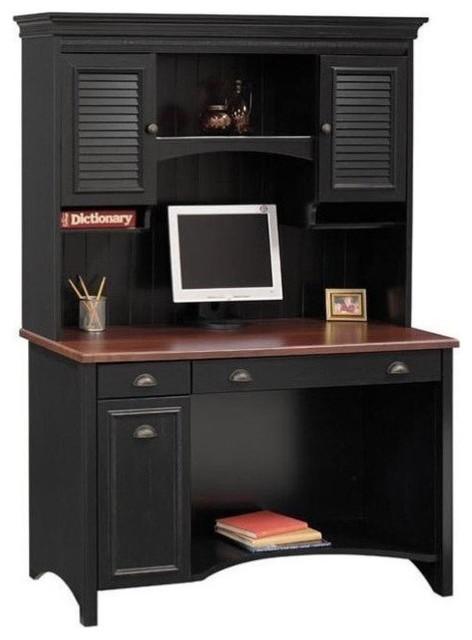 Bush Stanford Wood Computer Desk With Hutch Black