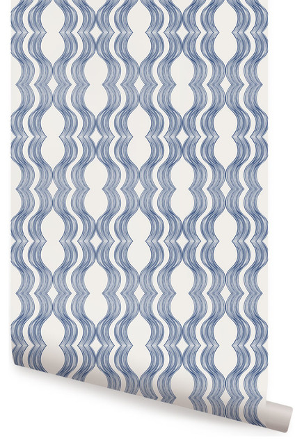 Wave Wallpaper Peel And Stick Transitional Wallpaper By Simple Shapes