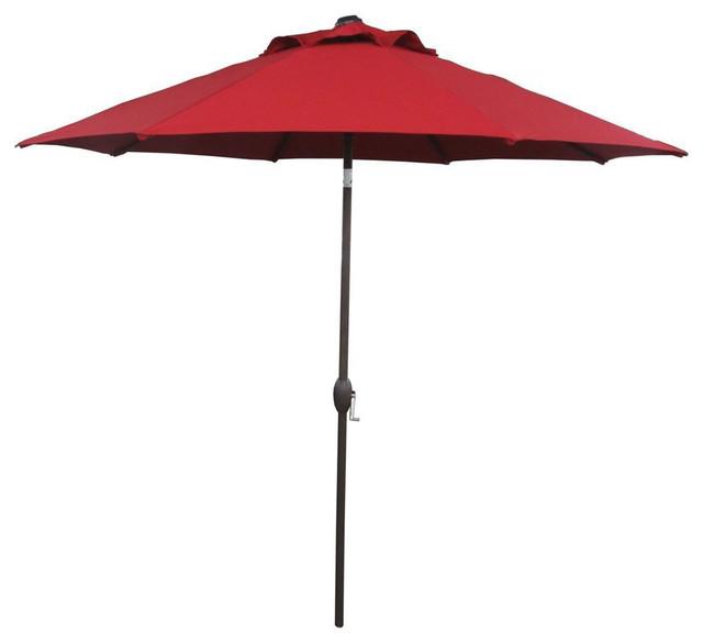 Abba Patio 9u0027 Market Outdoor Umbrella With Auto Tilt And Crank, Dark Red  Contemporary