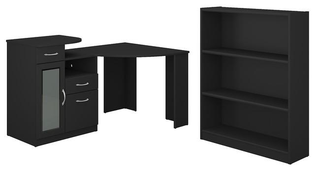 Vantage Corner Desk And Bookcase Set Clic Black Transitional Desks Hutches By Bush Industries