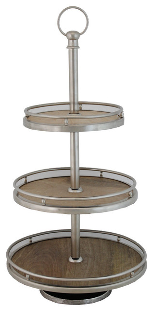 Canni 3 Tier Wooden Tray Transitional Dessert And Cake