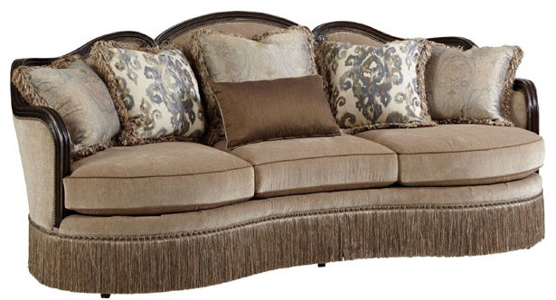Giovanna Azure Upholstered Sofa.