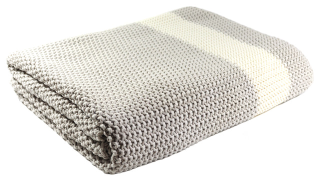 Cotton Throw Blanket Marici Collection Light Gray And Cream