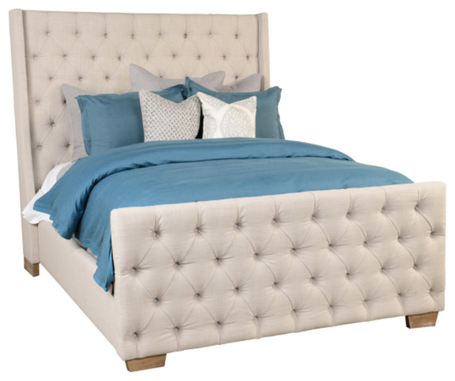 High Quality Cream Tufted Linen Bed, California King Transitional Panel Beds Photo