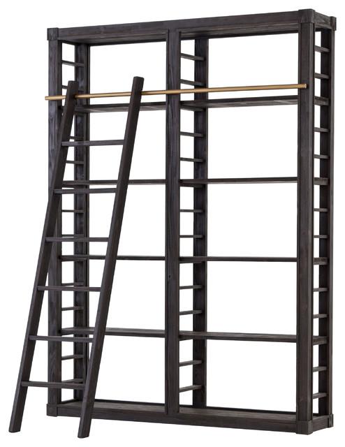 Sharon Modern Clic Black Wood 10 Shelf Ladder Open Back Bookcase