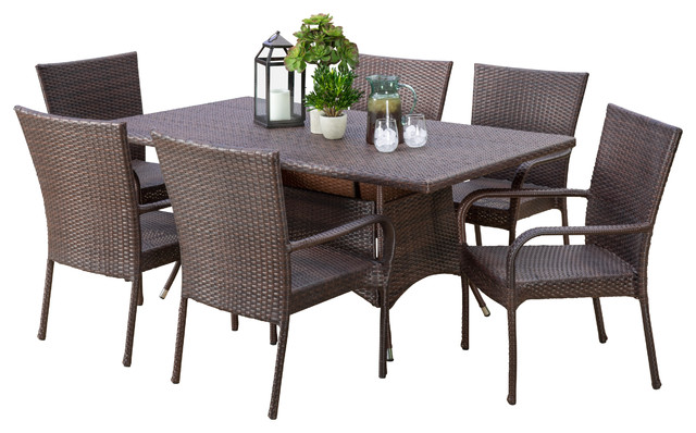 Kory Outdoor Multibrown Wicker Dining 7Piece Set Tropical