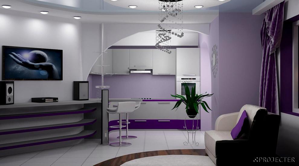 Дизайн-проект студийной гостиной для девушки