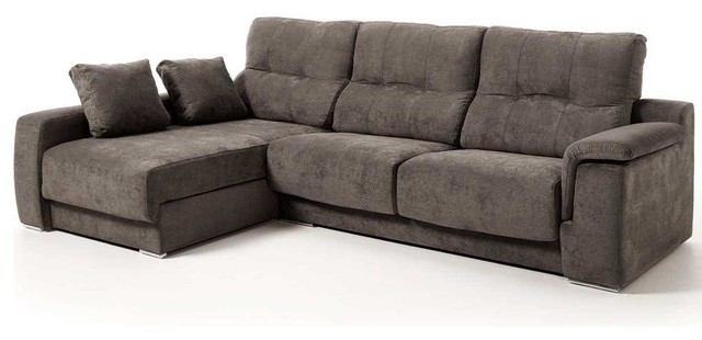 Air Modern Fabric Sectional Sofa, Brown, Left Facing Chaise