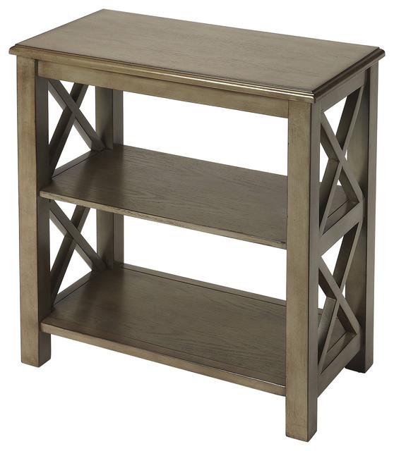 Vance Silver Satin Bookcase