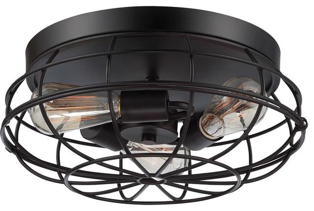 Shop Millennium Lighting 3 Light Neo Industrial Rubbed: Flush-mount Ceiling