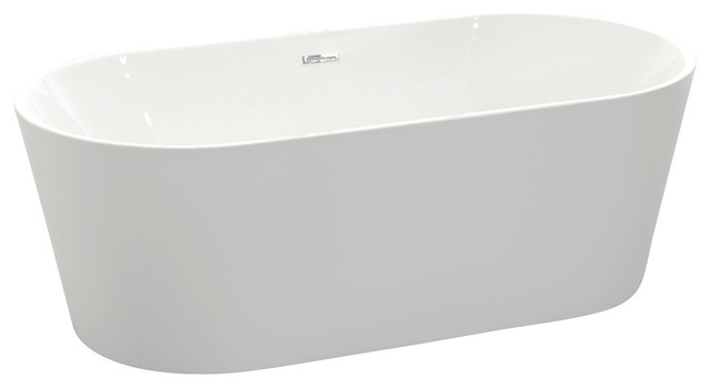 Anzzi Chand Series 5.58 Ft. Freestanding Bathtub In White. -1