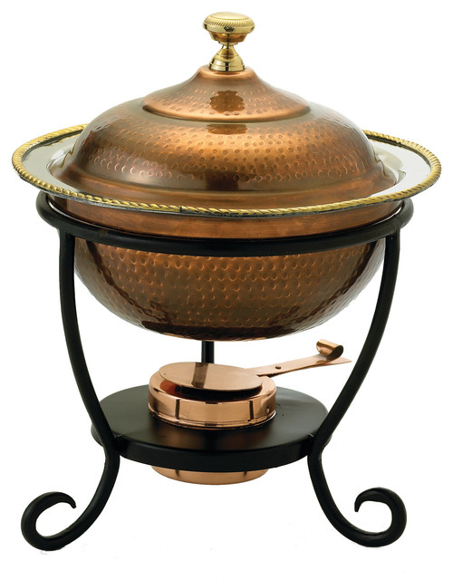"""12""""x 15"""" Round Antique Copper Over Stainless Steel Chafing Dish, 3 Qt.."""