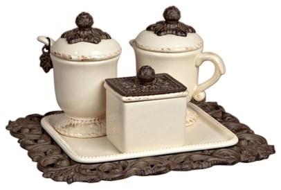 Creamer Sugar Sweetener Set On Tray