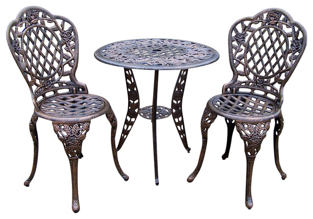 3 Pc Bistro Table Set in Antique Bronze, Tea Rose - Contemporary ...
