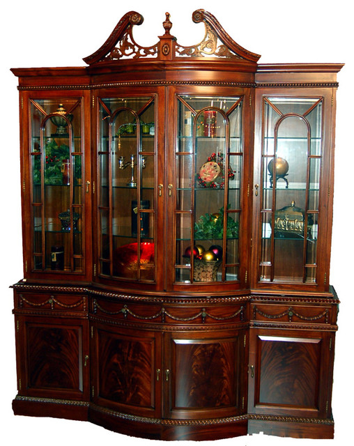 Beau Large Mahogany Bow Front Georgian China Cabinet