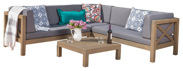 Brava Patio Wooden Sectional, Water Resistant Cushions, 4 Piece Set, Dark Gray.