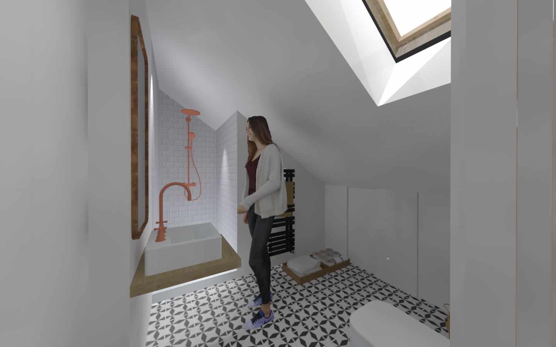 Aménagement des combles d'une maison de plein pied, option 2 la salle de bain