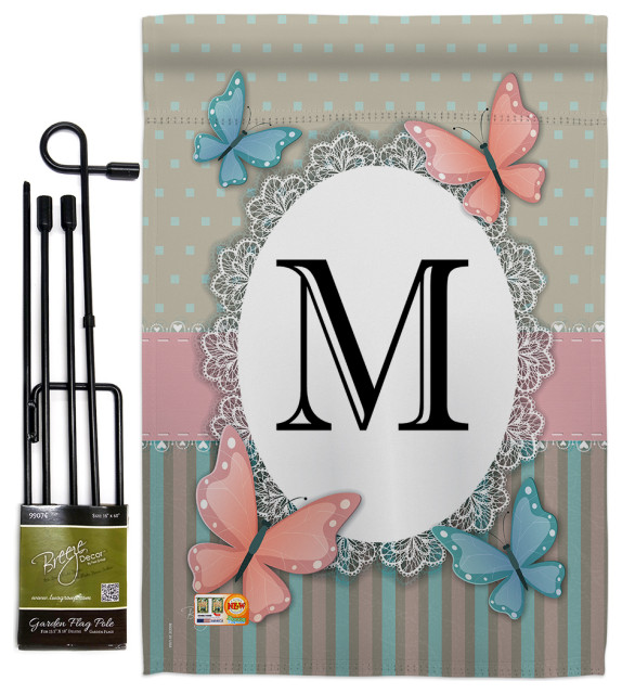 Butterflies M Initial Garden Friends Bugs Frogs Garden Flag Set