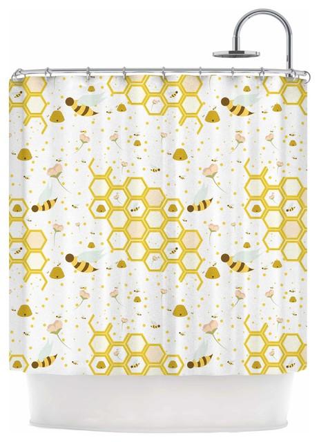 Stephanie Vaeth Honey Bees White Yellow Shower Curtain