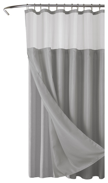 Hotel Collection Waffle Shower Curtain With Detachable Liner 72x70