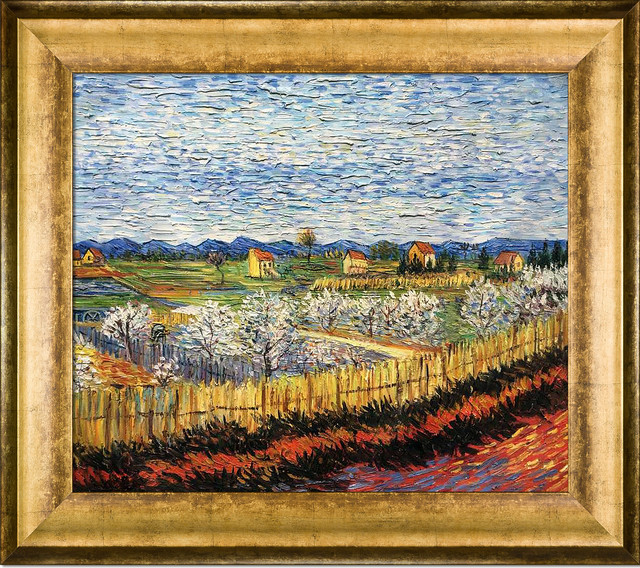 "Van Gogh ""peach Trees In Blossom"" Oil Painting, Athenian Gold King Frame 20""x24""."