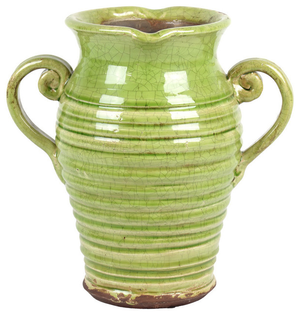 Antique Ceramic Tuscan Vase In With Beautiful Ring Pattern