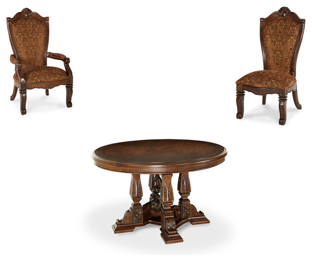 Windsor court round dining table 5 piece set for Traditional round dining table sets
