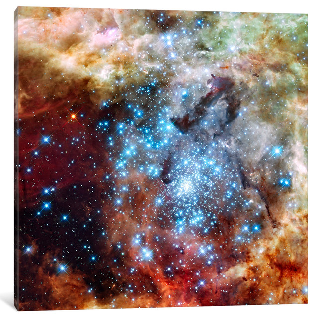 """star Cluster On Collision Course "" Wrapped Canvas Print, 18x18x0.75."